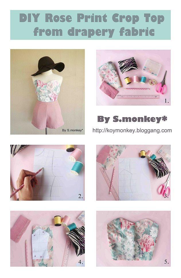 Bloggang.com : monkeykhanittha - D.I.Y Rose Print Crop top ทำเสื้อตัวสวยจากผ้าม่าน