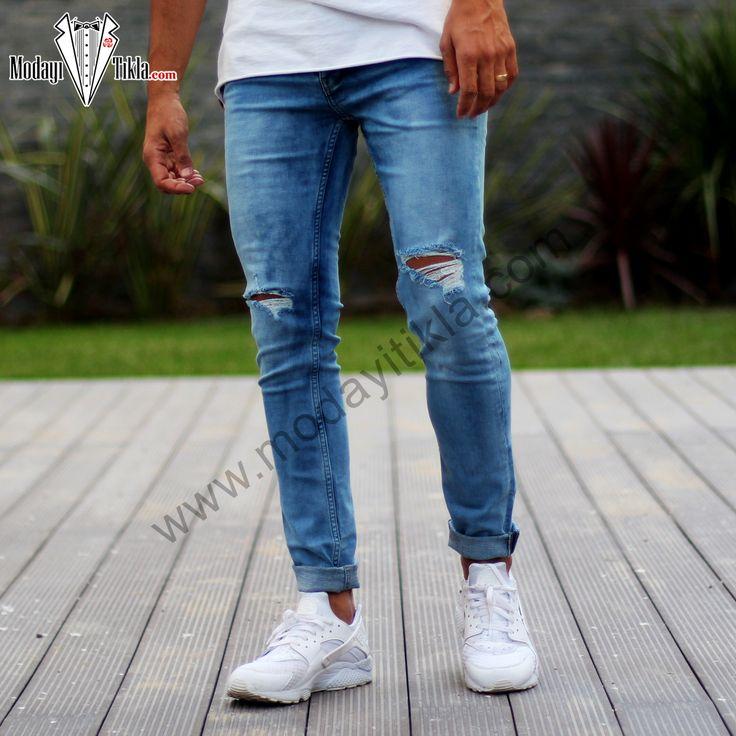 Erkek Kot Pantolon Mavi Dizleri Yırtık Taşlamalı Jeans