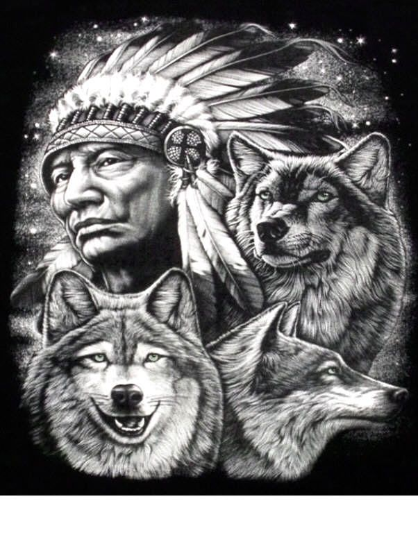 indian chief and wolf - photo #16