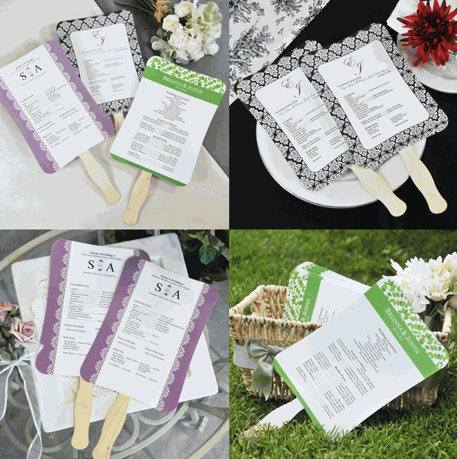 DIY fans for wedding programs.  Such a good idea!  Definitely need to remember