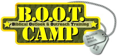 Good dog tag craft idea... Also found on kidology.org with full daily schedule http://truthquest.net/BOOT%20Camp%20Pages/BOOT%20Camp%20Overview.html
