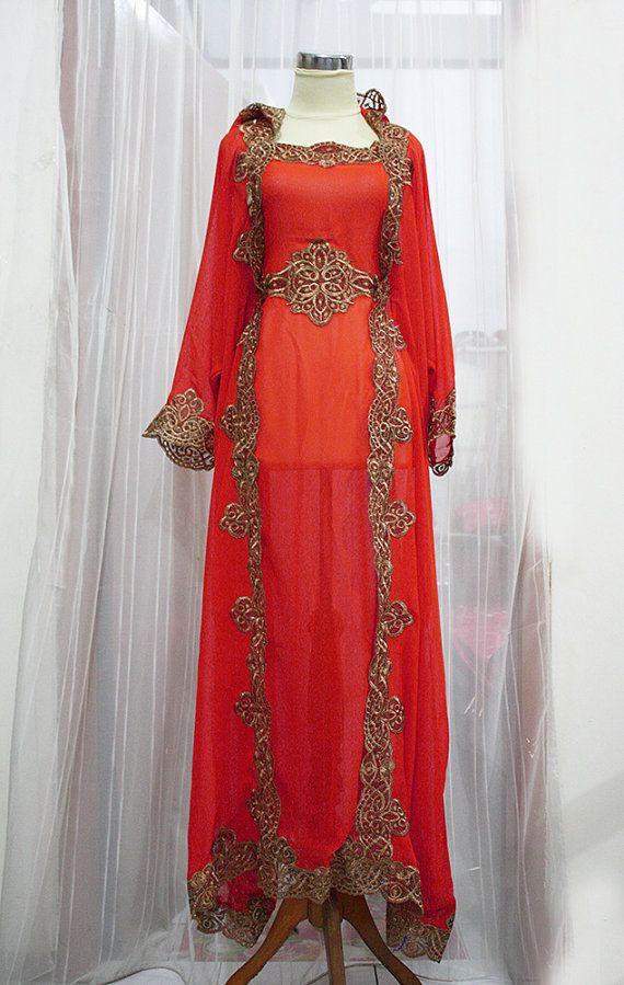 RED NEW Maroon Moroccan Caftan Hoodie Sheer Chiffon Fancy FULL Gold Embroidery Abaya Dubai Maxi Dress farasha Hijab Style Jalabiya