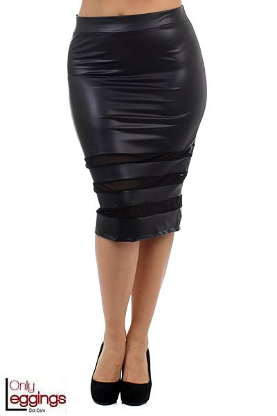 Sexy, chic and sassy are just a few ways to describe our Ring Mesh Faux Leather Plus Size Pencil Skirt.  This faux leather skirt is made with a beautiful soft faux leather fabric that hugs your torso perfectly to create that ideal sexy skirt that you are going to want for your women's fashion wardrobe.  Your closet will get an amazing lift in creating a whole new set of outfit options in a classy yet sexy fashion flare that only a great looking skirt can do.  Pair it with a pastel top for…