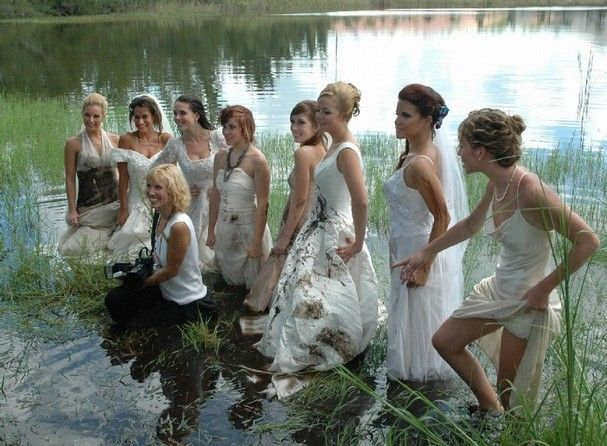 be sure your wedding gown is polyester before you do something this crazy