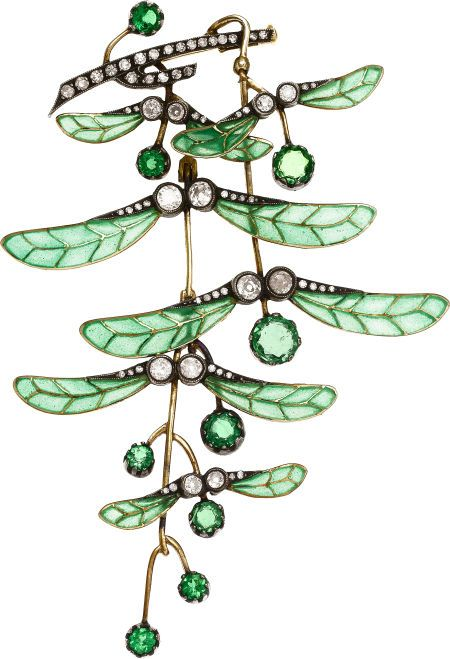 Art Nouveau Demantoid Garnet, Diamond, Plique-à-Jour Enamel, Silver-Topped Gold Brooch  The brooch features round-shaped demantoid garnets weighing a total of approximately 2.30 carats, enhanced by European and single-cut diamonds weighing a total of approximately 0.90 carat, accented by green plique-à-jour enamel, set in silver-topped gold, completed by a pinstem and catch