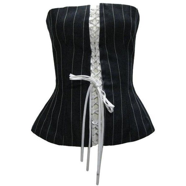 Preowned Dolce & Gabbana Denim Pin Stripe Lace Up Corset (585 CAD) ❤ liked on Polyvore featuring tank tops and black