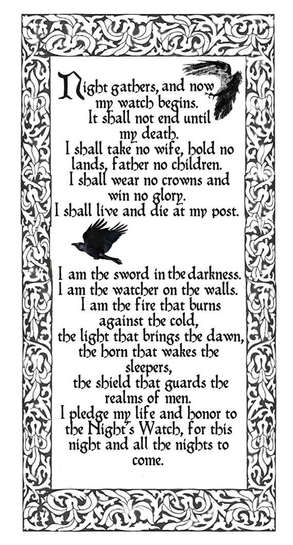 Night's Watch oath, Game of Thrones,