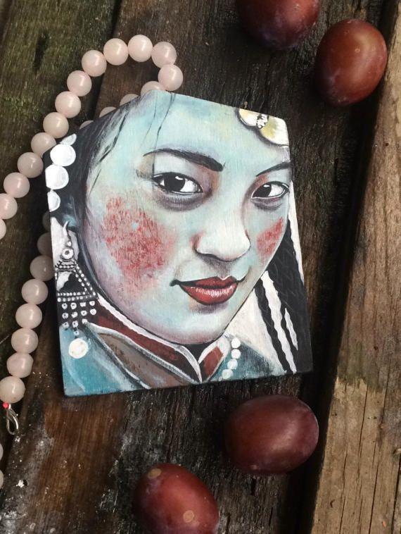 Stacy Shpak Original Tibetan woman portrait painting от Stacyshpak