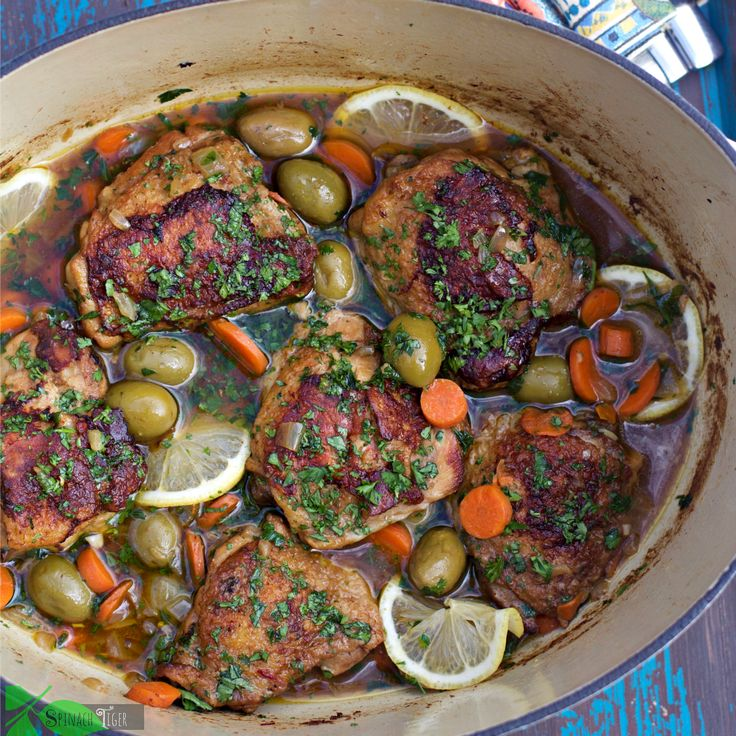 Paleo Chicken and Olives Recipe in Lodge Cast Iron Dutch Oven by Angela Roberts