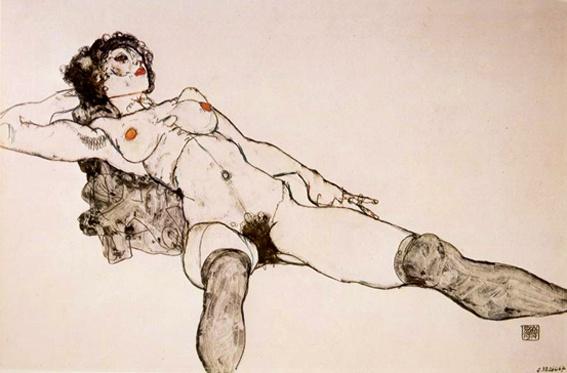 Liegender Weiblicher Akt mit gespreizten Beinen (Nú feminino com pernas reclinadas) - Egon Schiele, 1914 - Viena