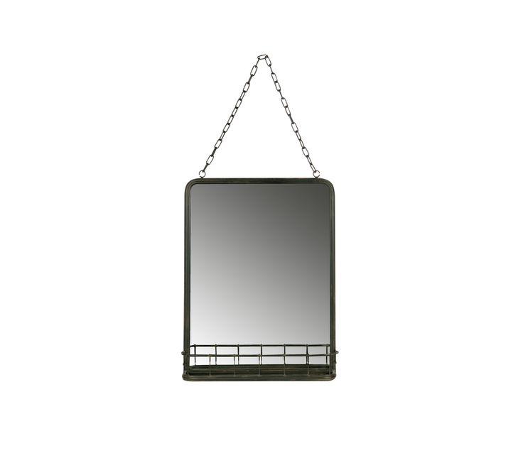 BePureHome Speak spiegel metaal met planchet - Zwart metaal