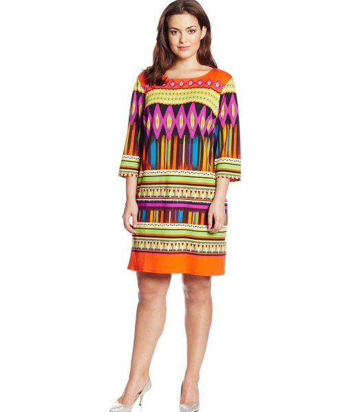Vestidos Cortos Casuales Para Gorditas 2015: Bonito vestido casual multicolo para gorditas 2015 con mangas en naranja, azul y morado
