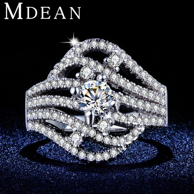 MDEAN Anniversary women Rings White Gold Plated CZ diamond Jewelry Engagement Bague Rings For Women fashion Accessories MSR373
