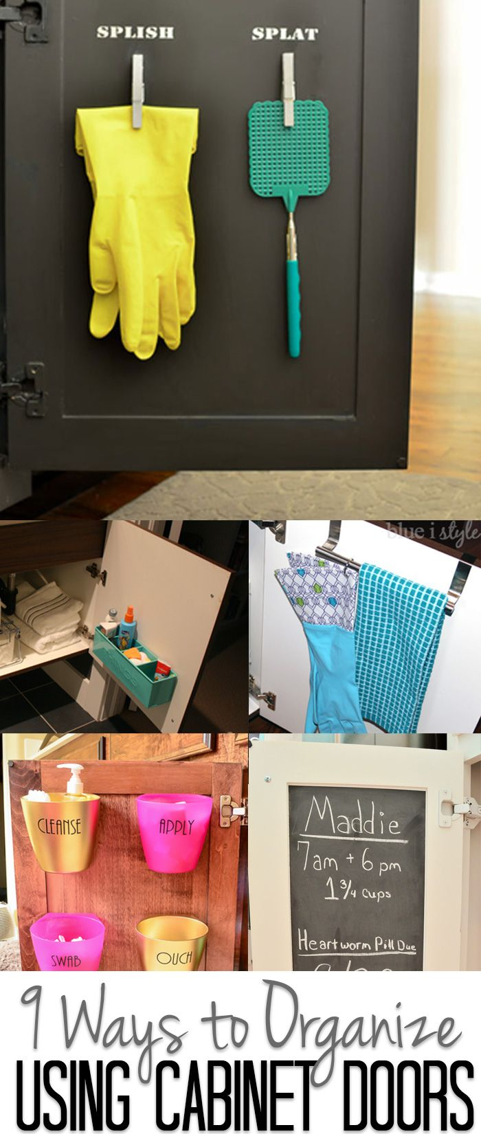 Don't overlook the backs of your cabinet doors when you need more organized storage space. Doors can be used to organize everything from spices to QTips in the kitchen and bathroom. They also make valuable message centers. Click to see all 9 creative ideas!