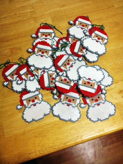 Perler Bead Santa Ornaments