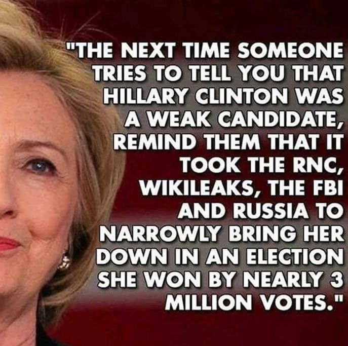 Since today is Throwback Thursday, let's remember the REAL winner of the 2016 election, the super smart and extremely qualified former Secretary of State Hillary Clinton. #ImStillWithHer #NeverTrump #NotMyPresident #Resist