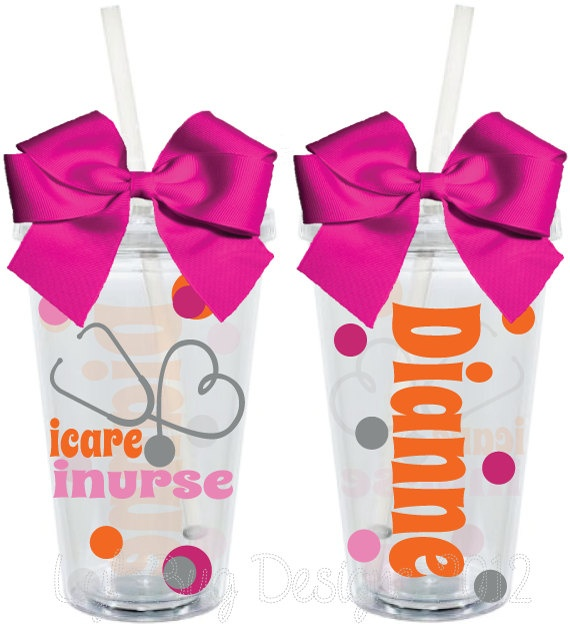 Nurse Gift I Care I Nurse 16oz Personalized by LylaBugDesigns, $15.00