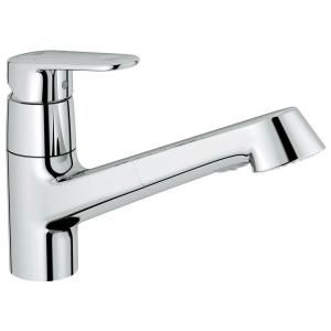 GROHE Europlus New Single-Handle Pull-Out Sprayer Kitchen Faucet in Starlight Chrome-32946002 at The Home Depot