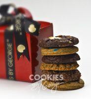 George Junior — 6 gourmet cookies gift wrapped in a shiny red box with ribbon and a gift tag.