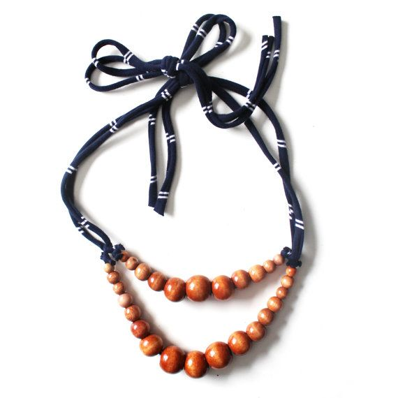 Color Pop Necklace in Hazelnut & Blue Stripe . Non-toxic Beads with a Jersey Tie . Fashionable and baby-friendly