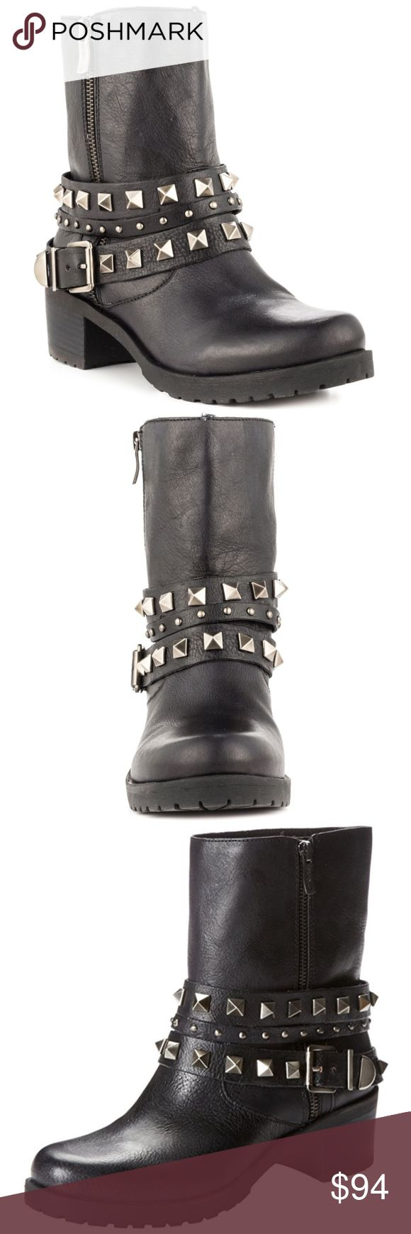 BCBGeneration Women's Estabon Stud Moto Boot NWOT! NEW! NEVER WORN!!! This black leather studded moto boot is perfect for an edgy look. These can easily pair with jeans, leggings, or dresses/skirts. Offers welcome! :) BCBGeneration Shoes Combat & Moto Boots