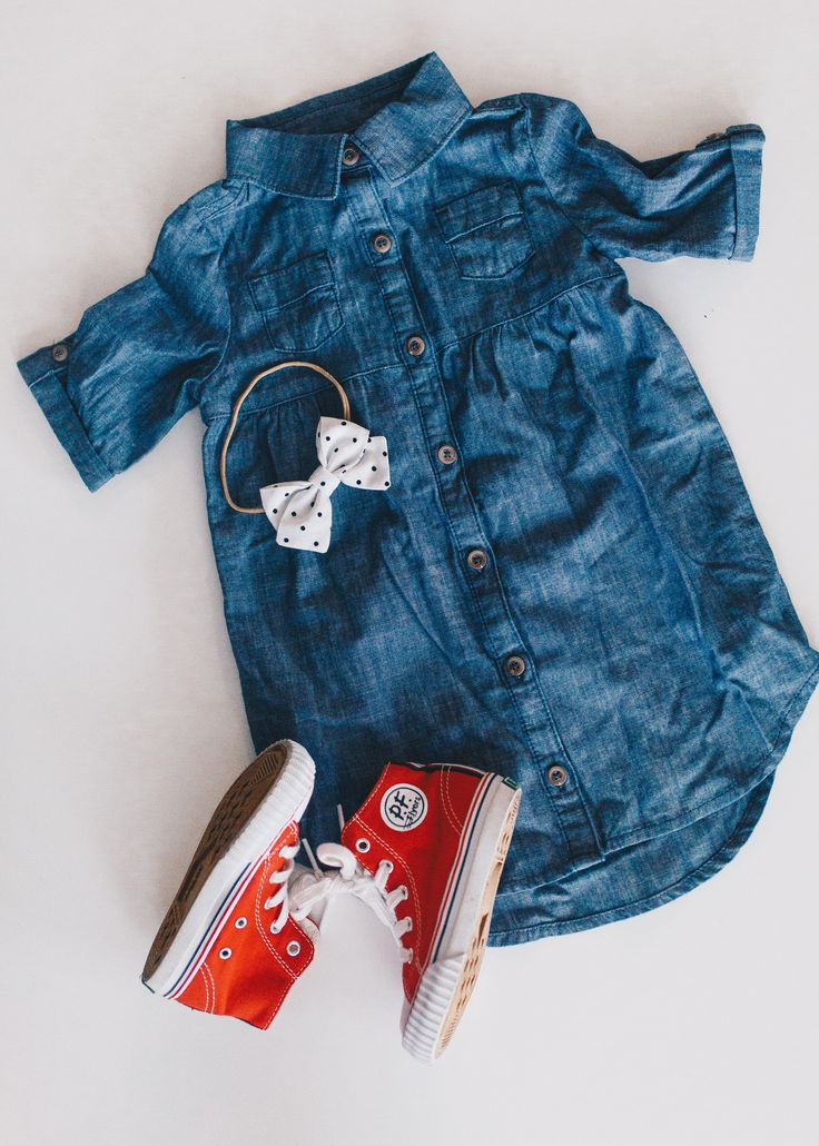 Cute girl high tops // denim dress outfit / fall toddler outfit / PF Flyers #ad