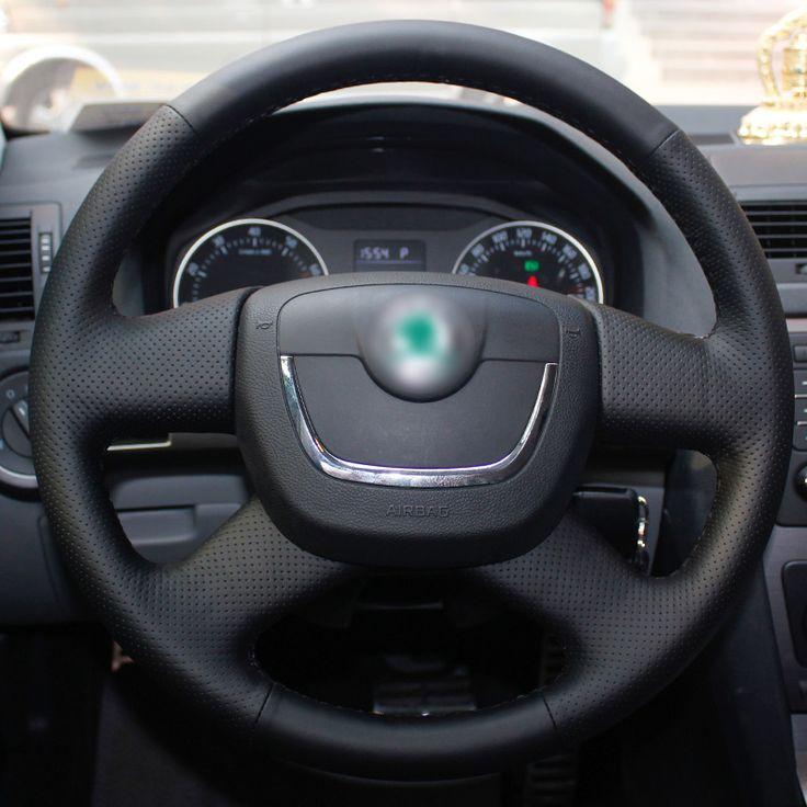 Hand-stitched Black Steering Wheel Cover for Skoda Octavia Superb 2012 Fabia Skoda Octavia a 5 a5 2012 2013 Yeti 2009-2013