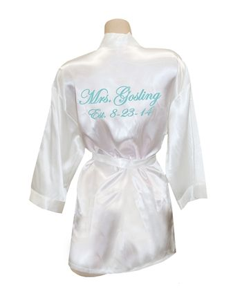 Personalized Satin Robe with Embroidery on Back, Personalized Robes, Custom Embroidered Robes, Custom Bride Robes