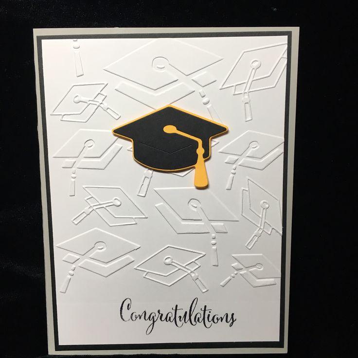 Darice embossing folder, Quickutz Graduation Cap die-cut.  Close To My Heart stamp