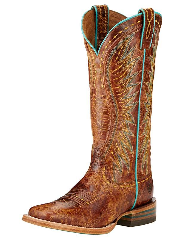 "Ariat Women's 13"" Saddle Tan Wide Square Toe Vaquera Boot"