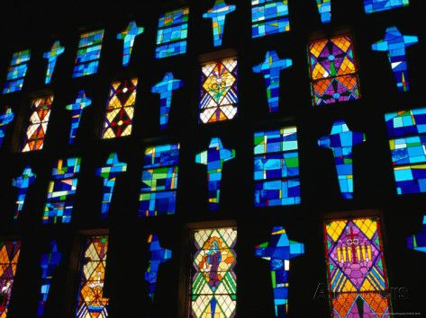 Stained Glass Windows of the Modern Cathedral, Barranquilla, Colombia Photographic Print by Krzysztof Dydynski at AllPosters.com
