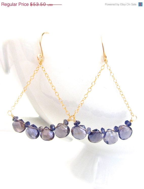 SALE 15% OFF Iolite Chandelier Earrings by JewelryBySonjaBlume, $45.48