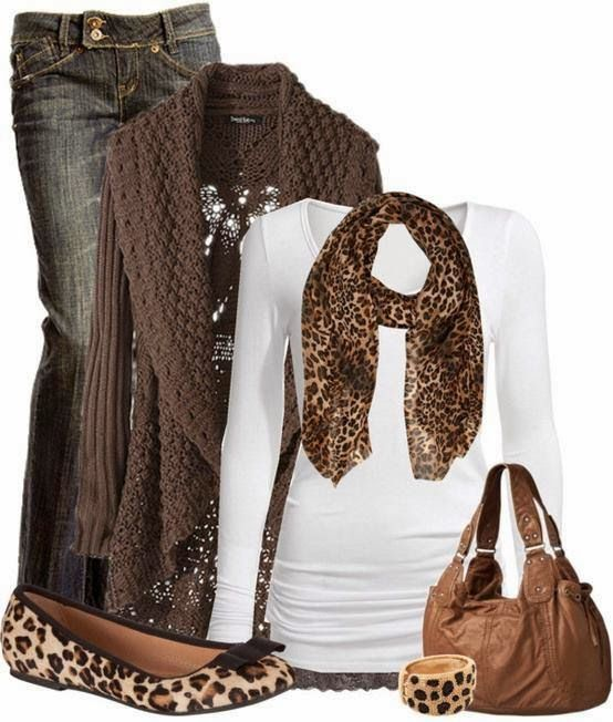 Fall Outfit With Long Brown Cardigan and Leopard Scarf