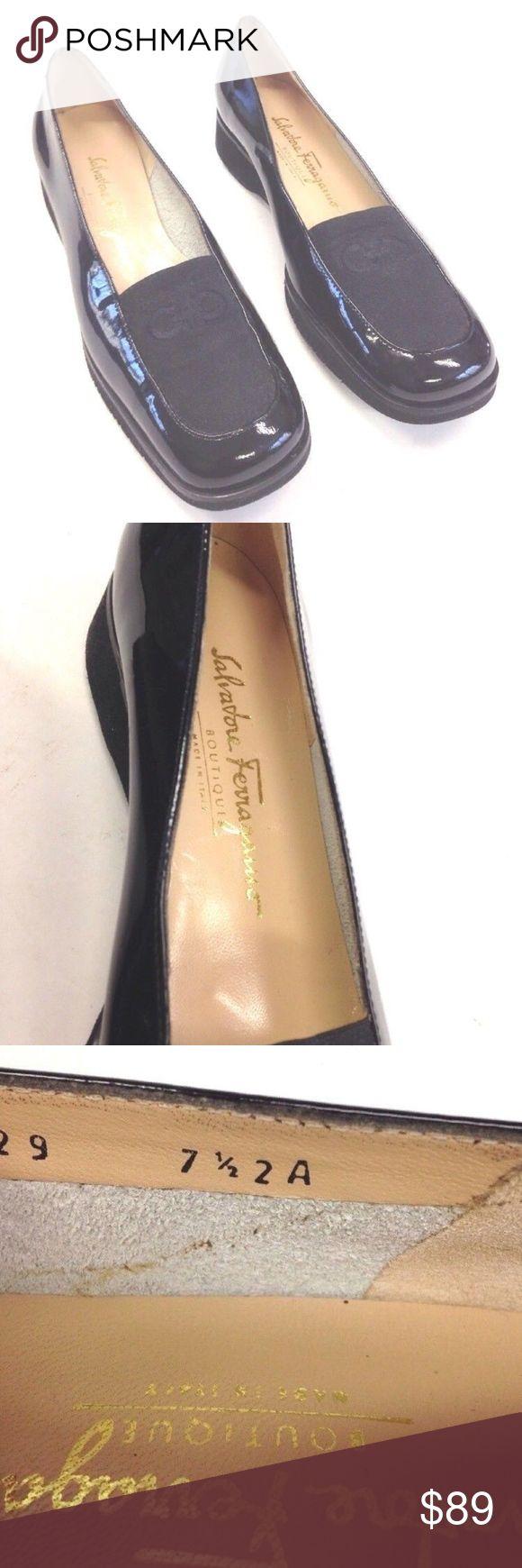SALVATORE FERRAGAMO BLACK PATENT WEDGE LOAFERS NICE PAIR OF SALVATORE FERRAGAMO BLACK PATENT WEDGE LOAFERS  WOMENS SIZE 7.5 AA  1'' WEDGE  LIGHTLY WORN. NICE & CLEAN  SEE PICTURES FOR DETAILS Salvatore Ferragamo Shoes Flats & Loafers