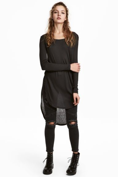 Long jersey top - Black - Ladies | H&M GB 1