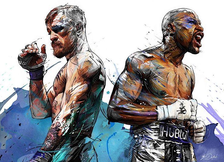 Künstlerisches Porträt: Floyd Mayweather jr. vs. Conor McGregor  Im Vorfeld von Boxkämpfen, Wrestling-Shows und MMA Fights werden keine Schläge, sondern vor allem viel heiße Luft und nicht selten auch Beleidigu...