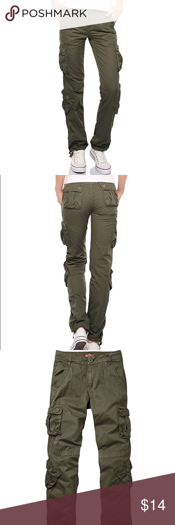 NWT women's olive straight leg cargo pants NWT olive women's cargo straight leg pants. Perfect for all seasons. Drawstring on ankles. Size medium but it fits more like a small. Pants