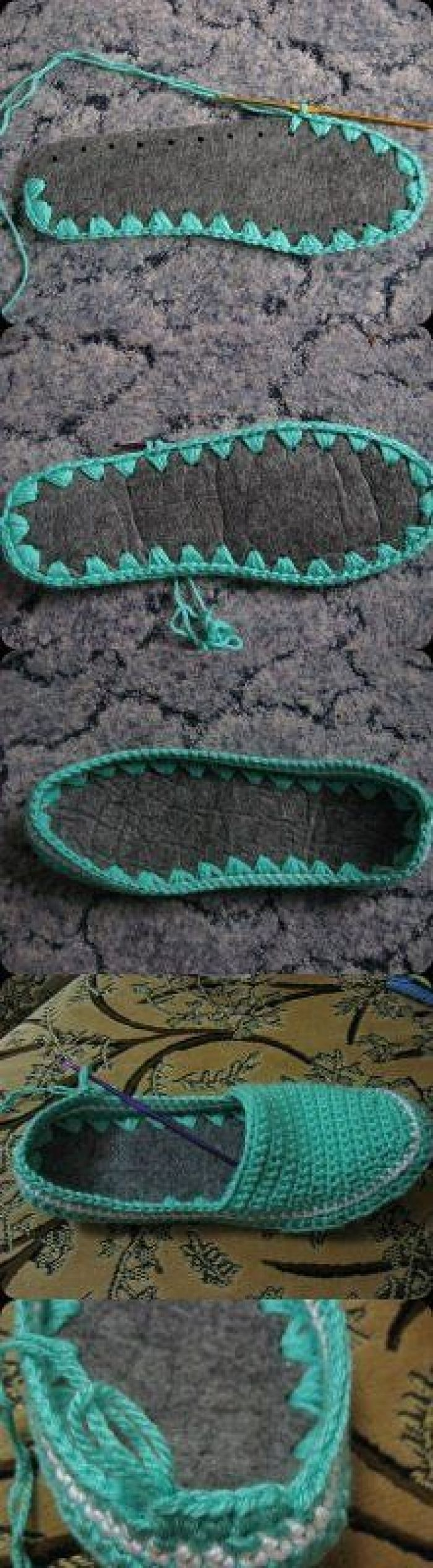 crochet slippers attached to a felt? leather? fabric? bottom. These would last so much longer!