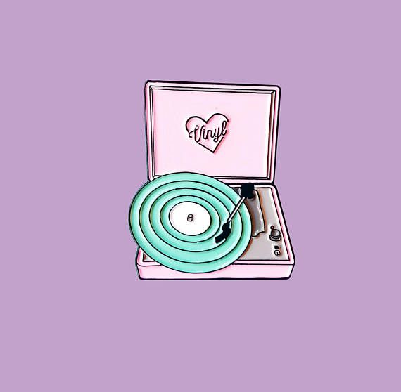 Pastel Neon Vinyl Record Players Enamel Lapel Pin