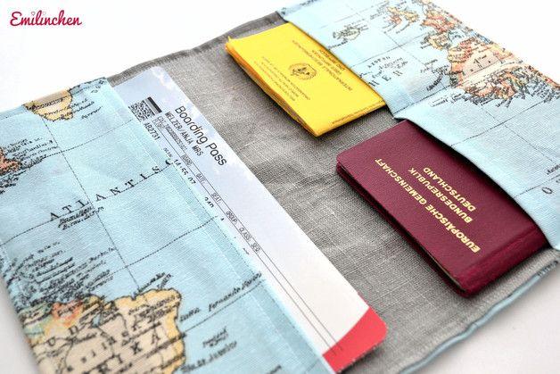 Reiseetui für die Reisedokumente, Landkarte / soft case for travelling and passport made by Emilinchen via DaWanda.com