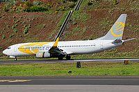 Primera Air Nordic Boeing 737-8Q8(WL) YL-PSB aircraft, skating at Portugal Madeira  Funchal International Airport. 29/11/2016.