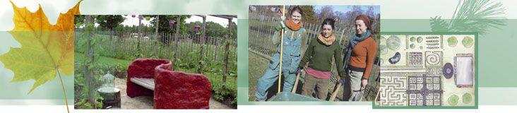 Trädgårdsmästarprogrammet i Ockelbo. Den röda soffan har jag gjort till studenternas trädgårdars tema kärlek år 2010