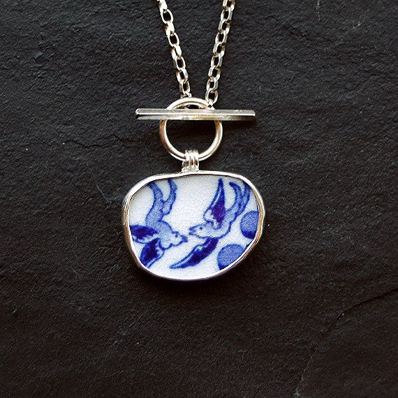 Pottery Shard jewelry  Blue and White Pendant in by ShardsbyTania, £38.00 love it! #ecrafty