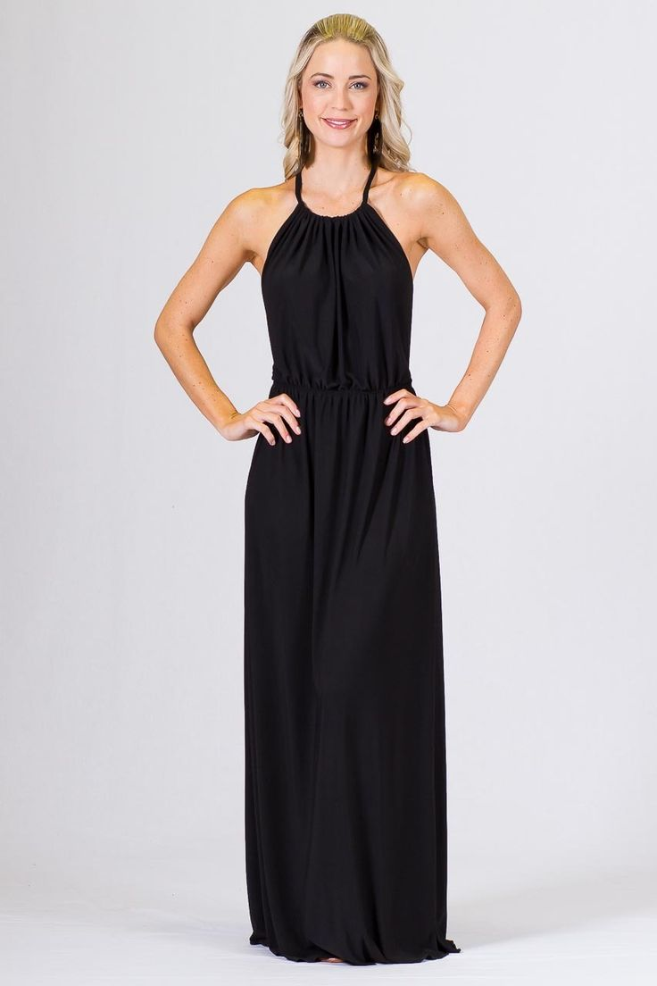 """Low Back Halter Maxi Dress - Black - Paper Scissors Paper.  One size fits standard ladies 8-14. A unique designed Low Back Maxi Dress.  Halter style at the front, with T style low back feature and elasticised at the waist. Wear this frock with simple sandles and pony for a more casual look or dress up for some Va-Voom.  Made from ITY Matt Polyester.  Pictured Model 5'8"""""""