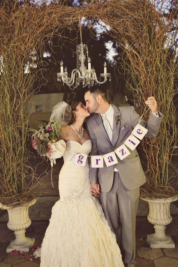 Rustic Wedding Reception Decorations | Rustic Style GRAZIE Banner Wedding Reception Decor Grazie Sign Photo ...