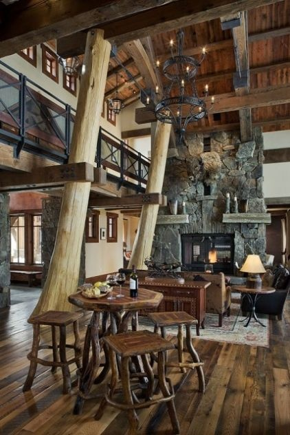 traditional living room by Teton Heritage Builders: Chic Decor, Trees Trunks, Ideas, Dreams, Living Rooms Design, Mountain Lodges, Logs Cabins, Families Rooms, Westerns Chic