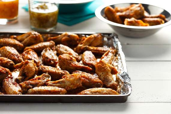 Superbowl game day party snack idea: Broiled Chicken Wings with Two Sauces (Peach Sauce and Jalapeno Chili Pepper Sauce)