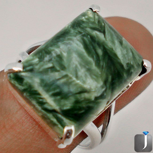 AWESOME GREEN SERAPHINITE GEMSTONE 925 SILVER RING JEWELRY size 7 C67976