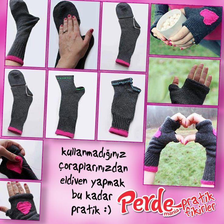 Kullanmadığınız çoraplarınızdan eldiven yapmak bu kadar pratik. Fikirlerimiz kadar pratik perdelerimize de göz atmak için www.perdemania.com.tr 'yi ziyaret edin :)