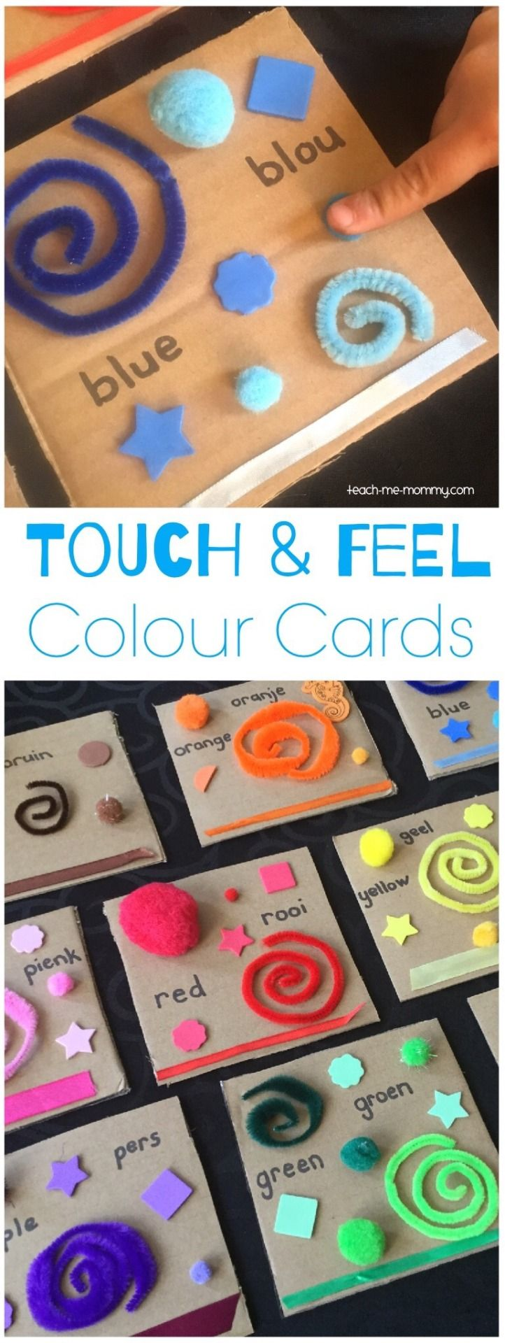These sensory color cards from Teach Me Mommy are simple to recreate with affordable crafts materials. Babies and toddlers will have fun learning by u…
